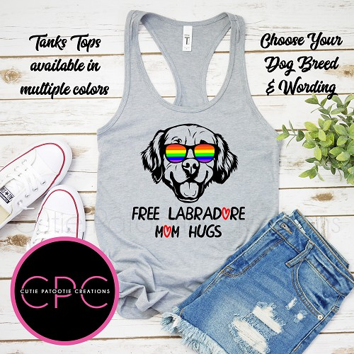 Personalized Free Mom Hugs Labradoodle Tank Top with or without Pride Sunglasses