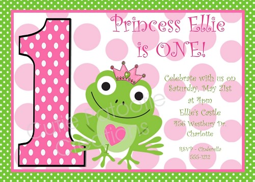 Princess Frog Birthday Party Invitations
