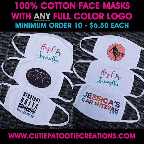Personalized Cotton Face Mask with FULL COLOR Logo for Mitzvahs and Weddings - MINIMUM ORDER 10