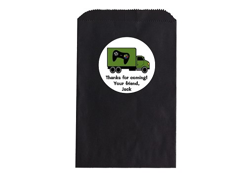 Game Truck Party Favor Bags and Personalized Stickers