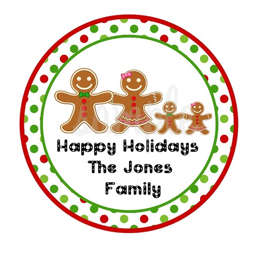 Personalized Christmas Holiday Stickers - Gingerbread Gift Tags