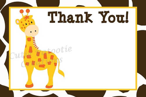 Jungle Giraffe Thank You Cards