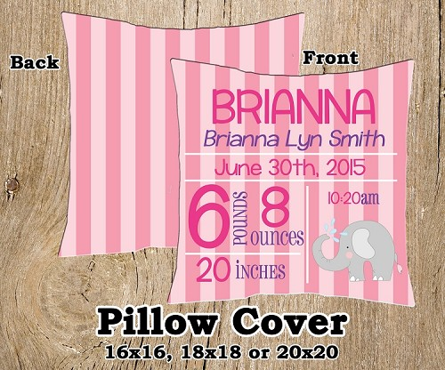 Birth Announcement Pillow Pink Elephant