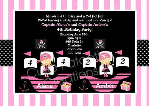 Pirate Birthday Invitation Twin Girls, Printable or Printed Party Invite