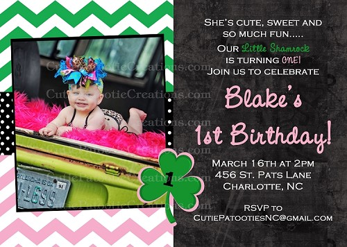 St Patrick's Day Party Invitations - Printable or Printed