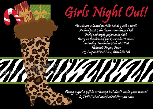 Leopard Zebra Print Girls Night Out Christmas Holiday Party Invitation - Printable or Printed