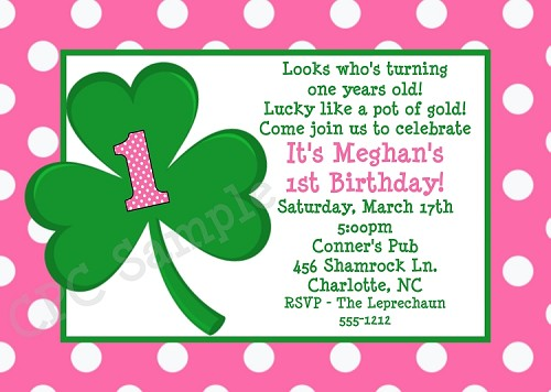 Pink Polka Dot St. Patricks Day Birthday Invitations