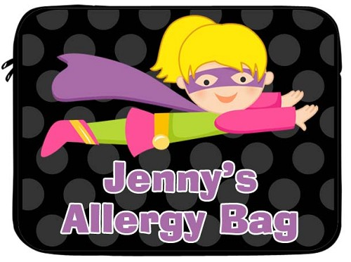 Personalized Girl Superhero Allergy Medicine Bag - EpiPen, Auvi-Q