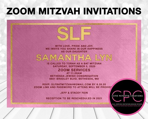 Zoom Bar Mitzvah Invitations, Pink and Gold, Virtual Service Invitation