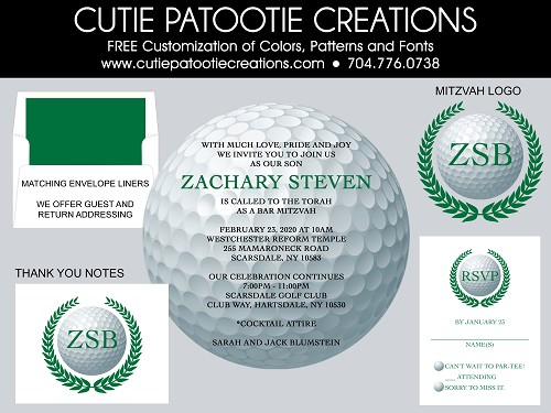 Golf Ball Bar Mitzvah Invitations | Custom Colors Available
