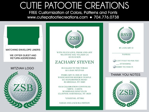 Golf Theme Bar Mitzvah Invitations - Custom Colors Available