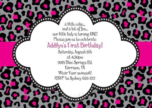 Black and Pink Leopard Print Invitations, Printable or Printed