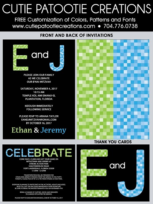Lime Green and Blue Pixel Pattern B'Nai Mitzvah Invitations
