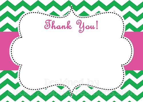 Pink Green Chevron Print Thank You Card - Printable or Printed