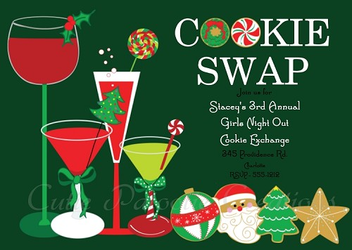 Cookie Exchange Holiday Party Invitation - Printable or Printed