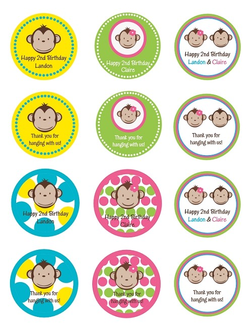Mod Monkey Cupcake Toppers