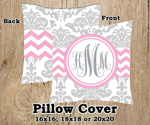 Monogrammed Pillow Cover - Chevron and Damask