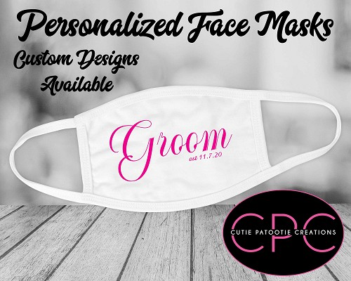 Personalized Groom Wedding Mask - Custom Colors Available