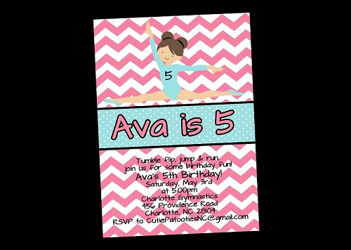 Gymnastic Birthday Party Invitations - Teal and Pink Chevron