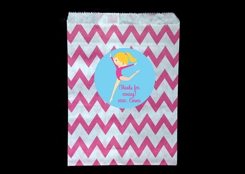 Pink and Turquoise Chevron Gymnastics Party Favor Goody Bags
