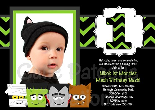 Halloween Monsters Birthday Party Invitations