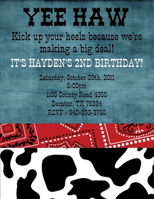 Cow Print Cowboy's Birthday Invitation | Western Birthday Party Invitations - Printable or Printed