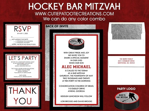 Hockey Bar Mitzvah Invitation - Choose Your Team Colors
