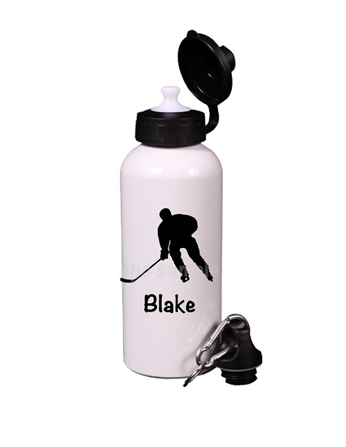 Personalized Silhouette Hockey Player Water Bottle