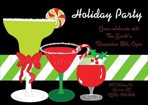 Cocktail Party Invitations for Christmas Holiday Party - Printable or Printed