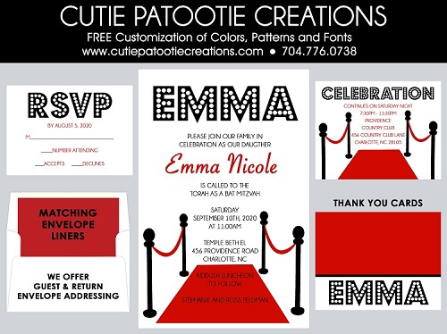 Hollywood Theme Bat Mitzvah Invitation
