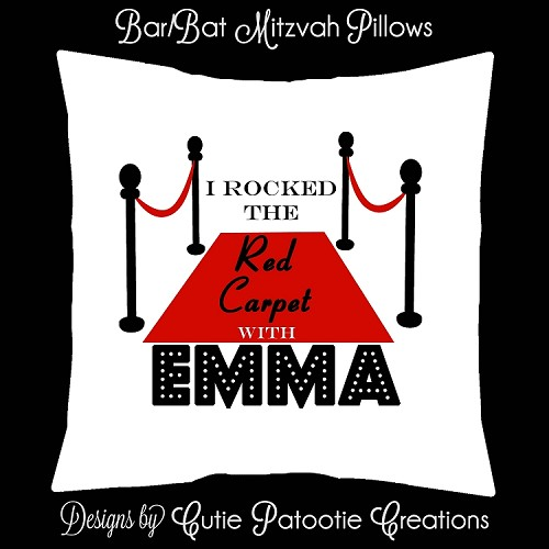 Hollywood Red Carpet Bat Mitzvah Sign in Board or Sign in Pillow