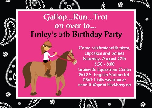 Equestrian Theme Birthday Party Invitations, Printable or Printed