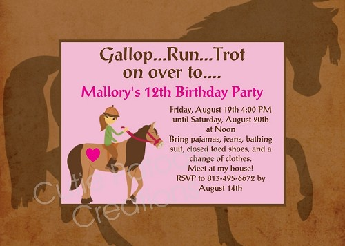 Horseback Riding Birthday Party Invitations, Printable or Printed