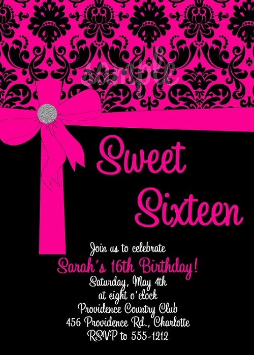Pink Black Sweet 16 Birthday Invitations