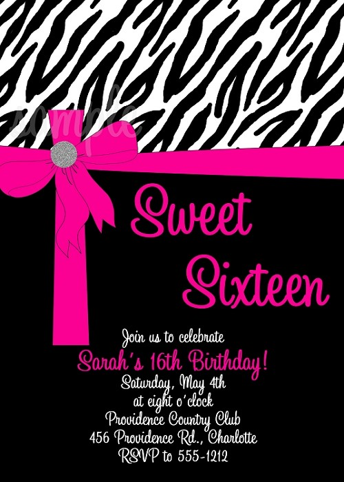 Zebra Print Sweet 16 Sixteen Birthday Invitations