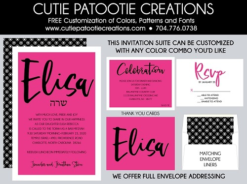 Hot Pink, Black and White Bat Mitzvah Invitation - Custom Colors Available