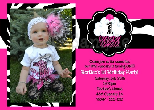 Cupcake 1st Birthday Invitations