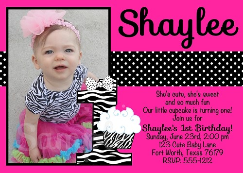 Zebra Print Cupcake Birthday Invitations