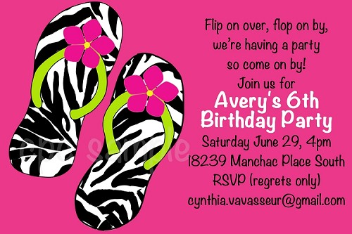 Zebra Print Flip Flops | Pool Party Invitations - Printable or Printed