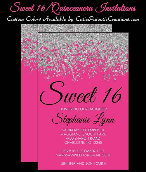 Hot Pink and Silver Sweet 16 Invitations - Quinceanera Invitation