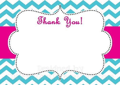 Turquoise Pink Chevron Print Thank You Card - Printable or Printed