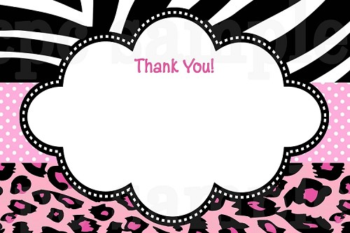 Hot Pink Leopard Zebra Print Thank You Cards