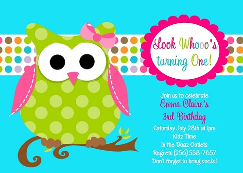 Turquoise Teal Blue and Green Owl Birthday Invitation - Printable or Printed