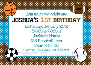 All Sports Birthday Invitations | 1st Birthday Invitations - Printable or Printed