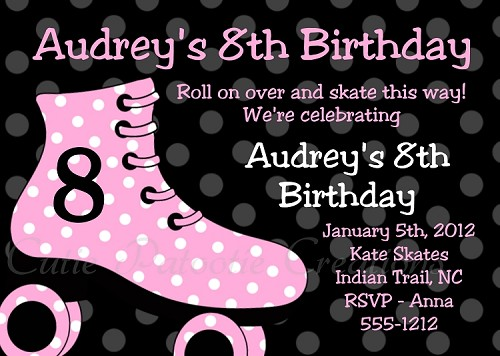 Roller Skating Birthday Invitations in Pink and Black - Printable or Printed