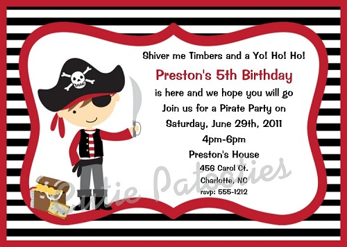 Pirate Birthday Invitations, Printable or Printed Party Invite