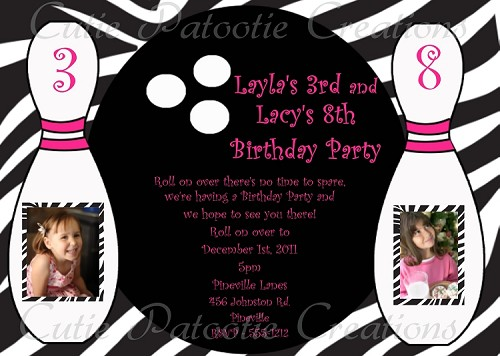 Zebra Print Bowling Birthday Invitations for Twin Girls