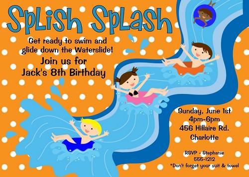 Slip And Slide Pool Party Birthday Invitation