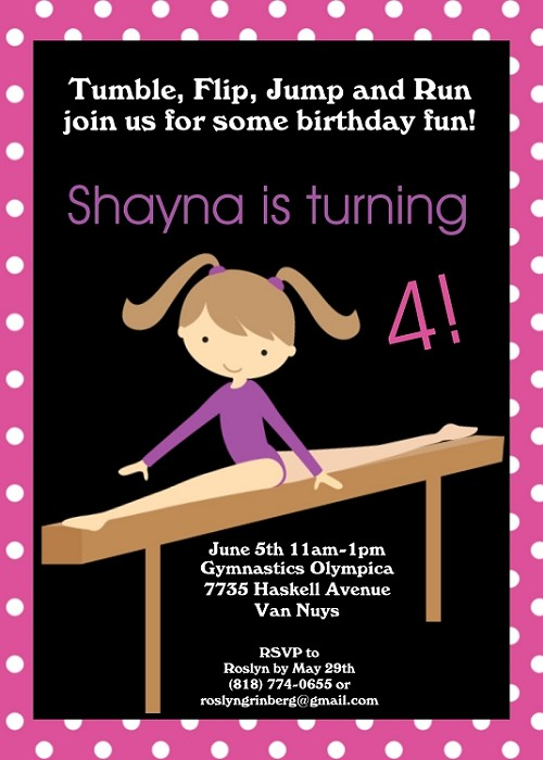 Girls Gymnastics Birthday Party Invitations - Printable or Printed