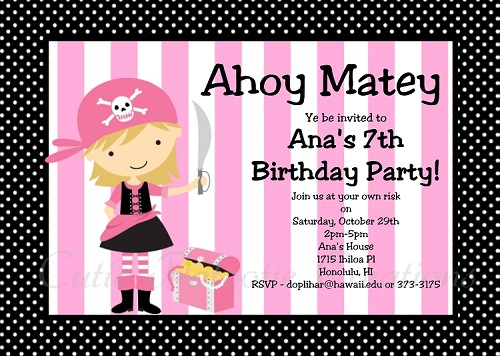 Girl Pirate Birthday Invitation, Printable or Printed Party Invite